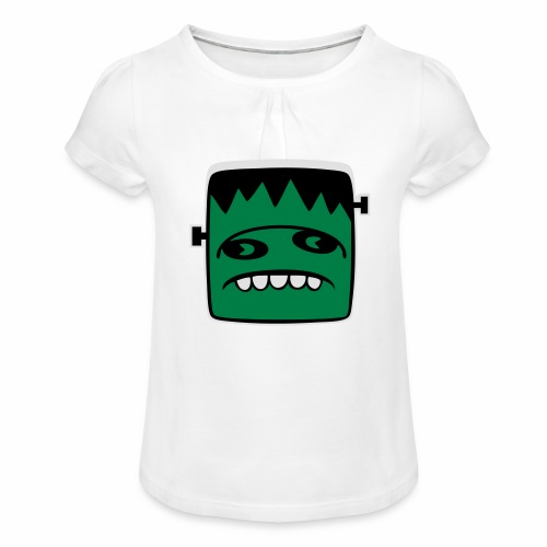 Fonster Weisser Rand ohne Text - Mädchen-T-Shirt mit Raffungen
