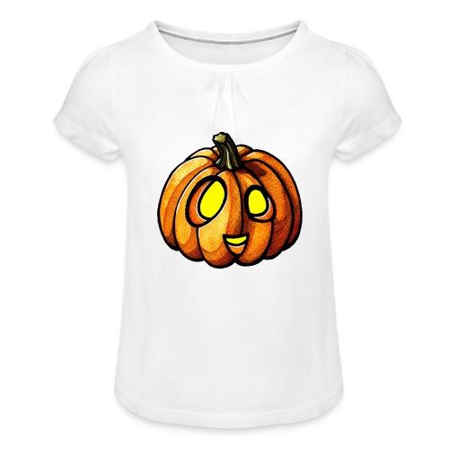 Pumpkin Halloween watercolor scribblesirii - Tyttöjen t-paita, jossa rypytyksiä
