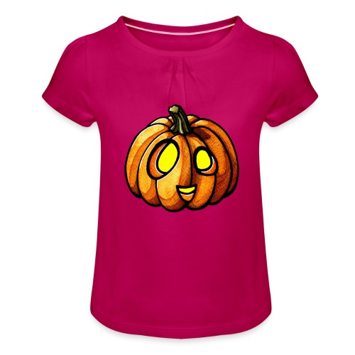 Pumpkin Halloween watercolor scribblesirii - Pige T-shirt med flæser