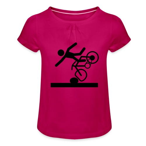 Strichmännchen Fahrradunfall - Mädchen-T-Shirt mit Raffungen