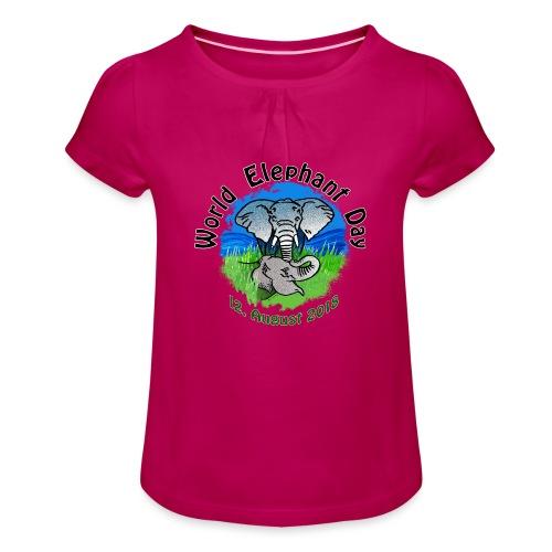 World Elephant Day 2018 - Mädchen-T-Shirt mit Raffungen
