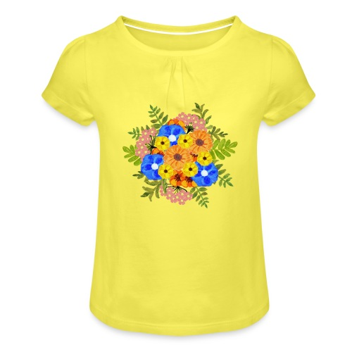 Blue Flower Arragement - Girl's T-Shirt with Ruffles