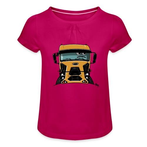0812 F truck geel - Meisjes-T-shirt met plooien