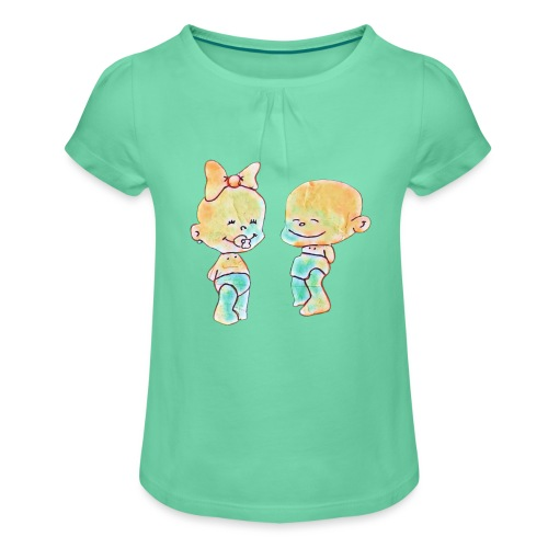 Bambini innamorati - Maglietta da ragazza con arricciatura