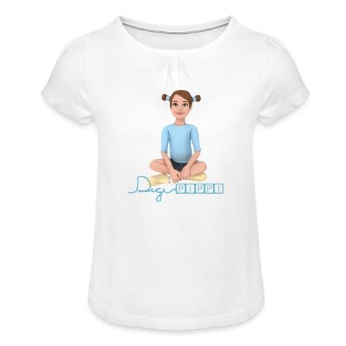 DigiPippi - maskot og logo - Pige T-shirt med flæser