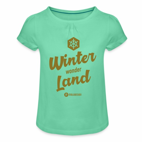 Winter Wonder Land - Tyttöjen t-paita, jossa rypytyksiä