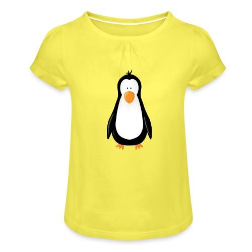 Pinguin Fridolin - Mädchen-T-Shirt mit Raffungen