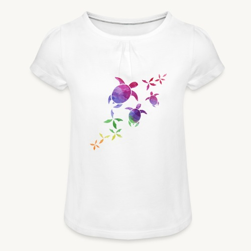 Schildkröten im Regenbogen - Mädchen-T-Shirt mit Raffungen