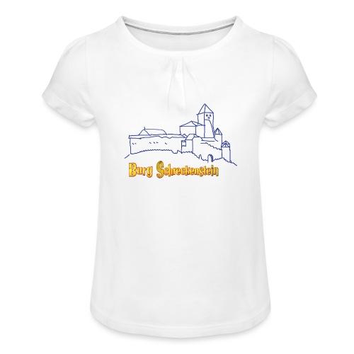 Kinder Kapuzenpullover - Burg Schreckenstein - Mädchen-T-Shirt mit Raffungen