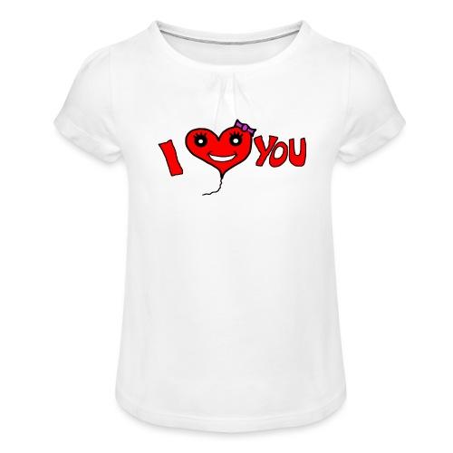 ich liebe dich - Mädchen-T-Shirt mit Raffungen