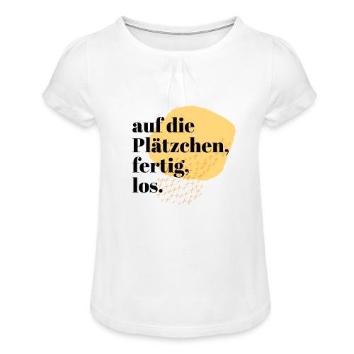 Auf die Plätzchen, fertig, los. Aquarell - Mädchen-T-Shirt mit Raffungen