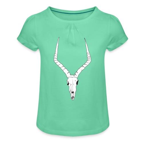 Antelope ANIMAL skull - Girl's T-Shirt with Ruffles