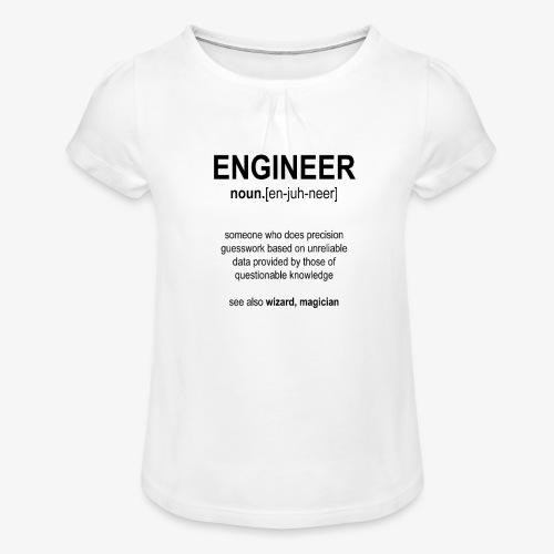 Engineer Def. 1 (Black) - T-shirt à fronces au col Fille