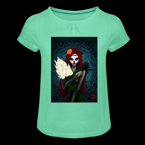 Death and lillies - Girl's T-Shirt with Ruffles
