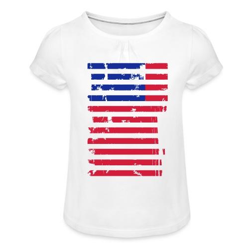FlagUSA Casual - Camiseta para niña con drapeado