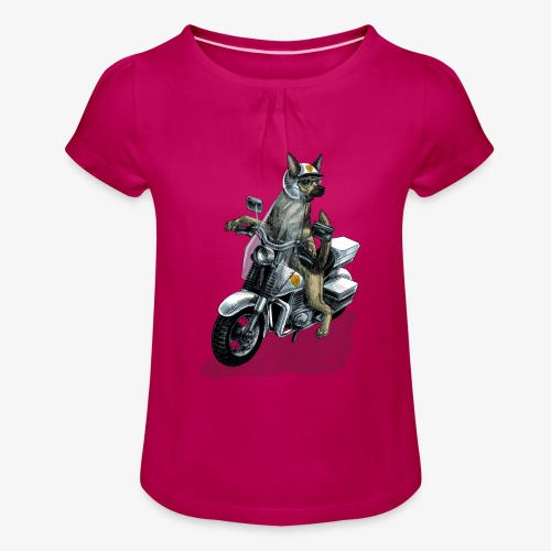 Police Dog - Girl's T-Shirt with Ruffles