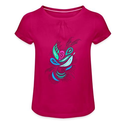 astratto foglie multicolore - Maglietta da ragazza con arricciatura