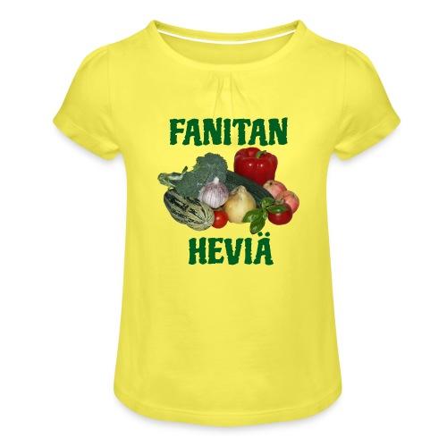 Fanitan heviä - Tyttöjen t-paita, jossa rypytyksiä