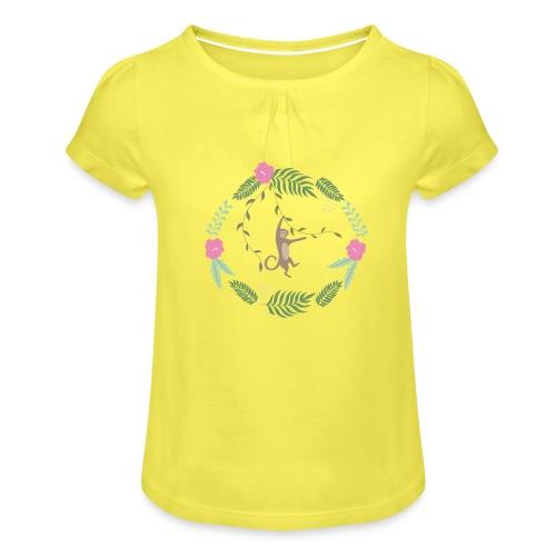 Mikey monkey - Maglietta da ragazza con arricciatura
