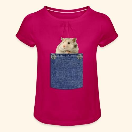 hamster in the poket - Maglietta da ragazza con arricciatura