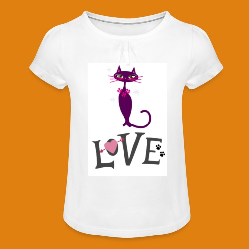 t-shirt cat love - Girl's T-Shirt with Ruffles