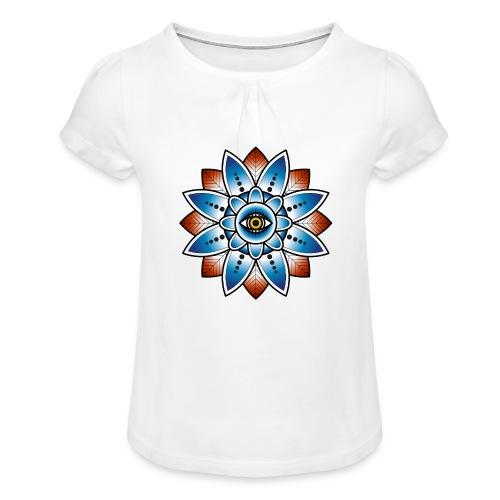 Psychedelisches Mandala mit Auge - Mädchen-T-Shirt mit Raffungen