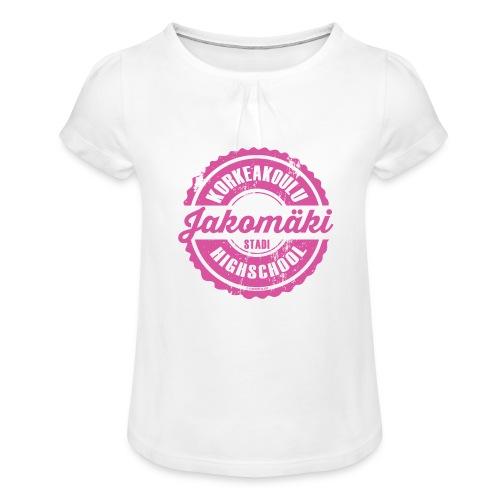 77P-JAKOMÄEN KORKEAKOULU - Stadi, Helsinki - Tyttöjen t-paita, jossa rypytyksiä
