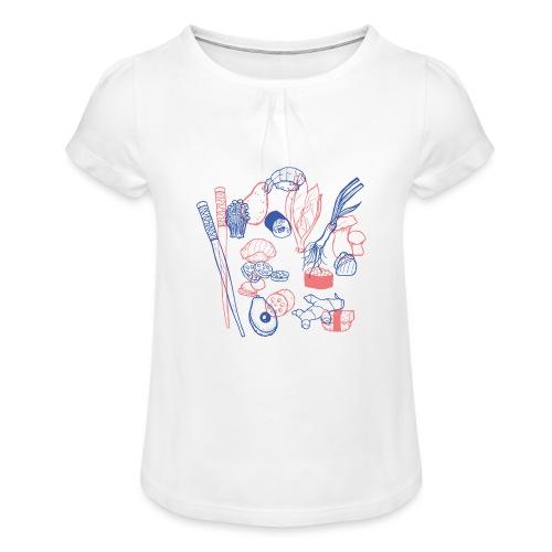 Sushi - Mädchen-T-Shirt mit Raffungen