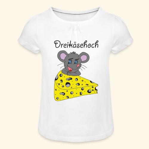 Dreikäsehoch - schwarze Schrift - Mädchen-T-Shirt mit Raffungen