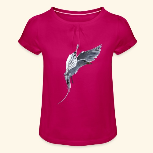 Weißschwanz Tropenvogel - Mädchen-T-Shirt mit Raffungen