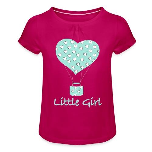 Little Girl in mongolfiera - Maglietta da ragazza con arricciatura