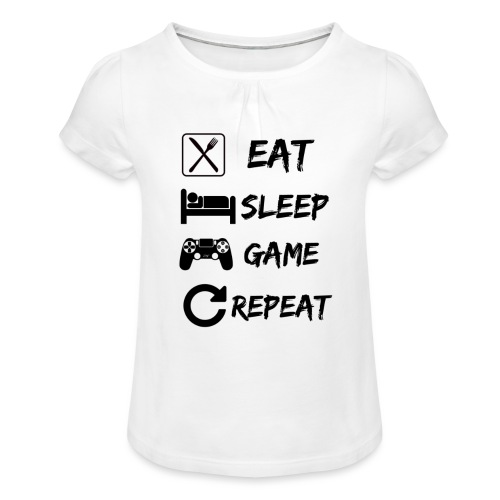 Eat_Sleep_Game_Repeat - Camiseta para niña con drapeado
