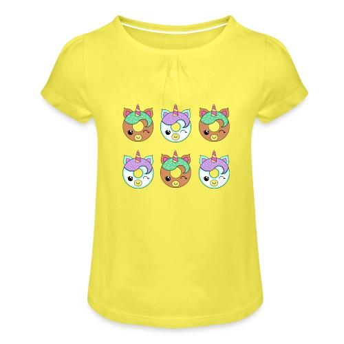 Unicorn Donut - Maglietta da ragazza con arricciatura