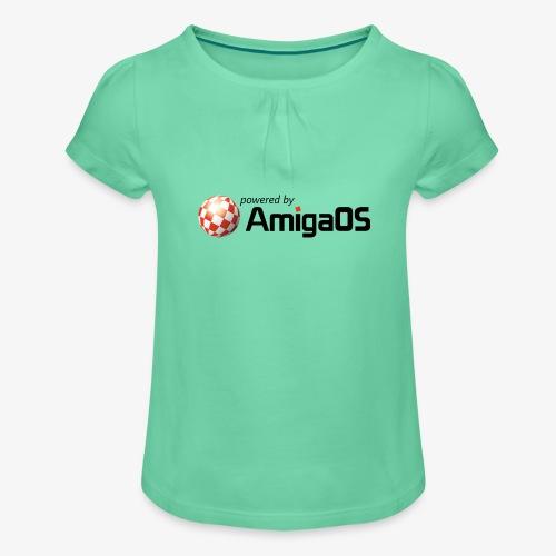 PoweredByAmigaOS Black - Girl's T-Shirt with Ruffles
