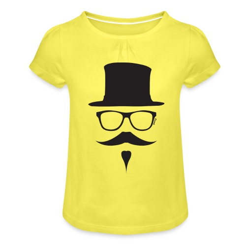 Moustachu Black (H) - T-shirt à fronces au col Fille