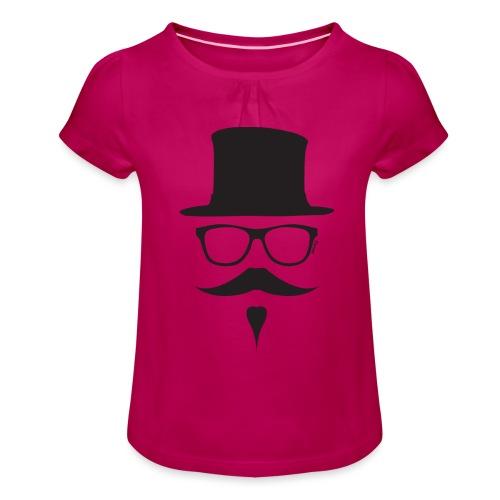Moustachu Black (H) - T-shirt à fronces au col Fille