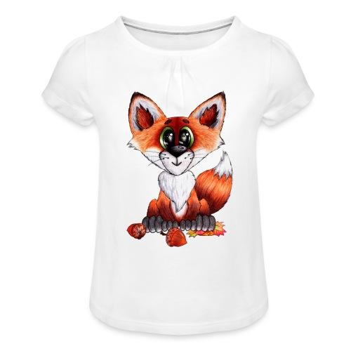 llwynogyn - a little red fox - Tyttöjen t-paita, jossa rypytyksiä