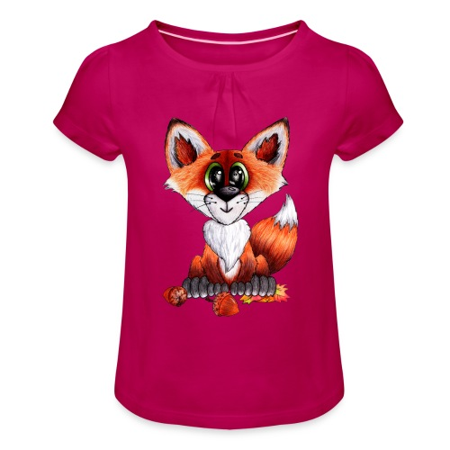 llwynogyn - a little red fox - Pige T-shirt med flæser