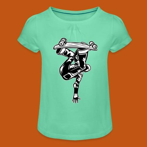 Skater / Skateboarder 03_schwarz weiß - Mädchen-T-Shirt mit Raffungen