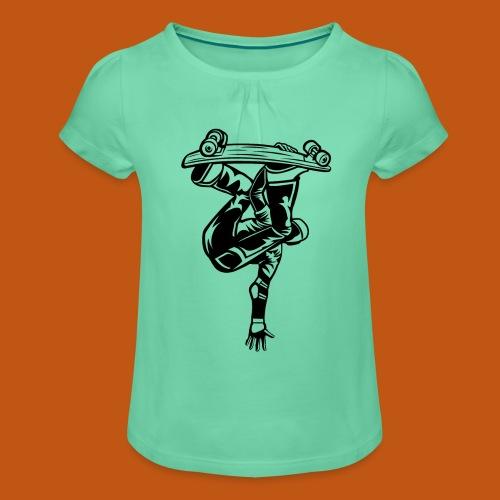 Skater / Skateboarder 03_schwarz - Mädchen-T-Shirt mit Raffungen