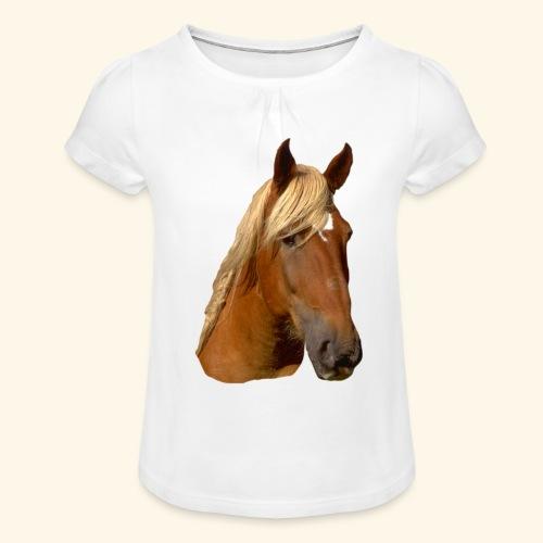 Horse Head - Girl's T-Shirt with Ruffles