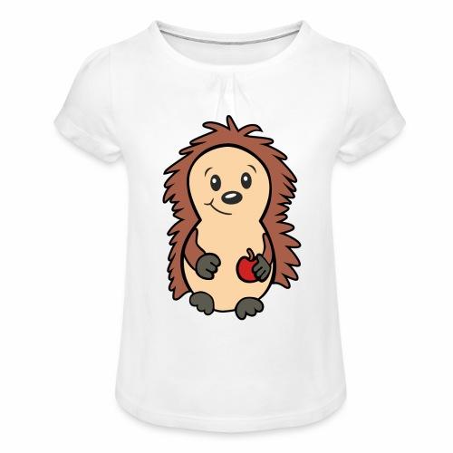 Igel mit Apfel in der Hand - Mädchen-T-Shirt mit Raffungen