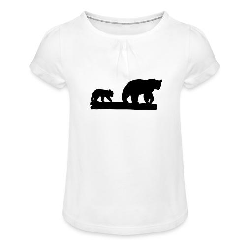 Bären Bär Grizzly Wildnis Natur Raubtier - Mädchen-T-Shirt mit Raffungen