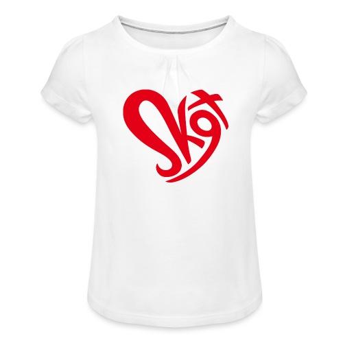 Salzkammergut Herz rot - Mädchen-T-Shirt mit Raffungen