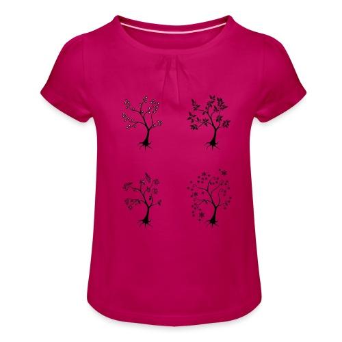 Vuodenajat - Tyttöjen t-paita, jossa rypytyksiä