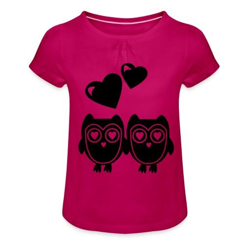 verliebte Eulen - Mädchen-T-Shirt mit Raffungen