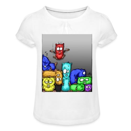 hamstris_farbe - Mädchen-T-Shirt mit Raffungen