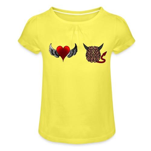 Herz Engel Hirn Teufel lustiges Motiv Geschenk - Mädchen-T-Shirt mit Raffungen