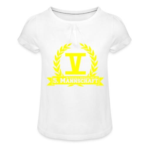 V mit College-Schriftzug - Gelb - Mädchen-T-Shirt mit Raffungen