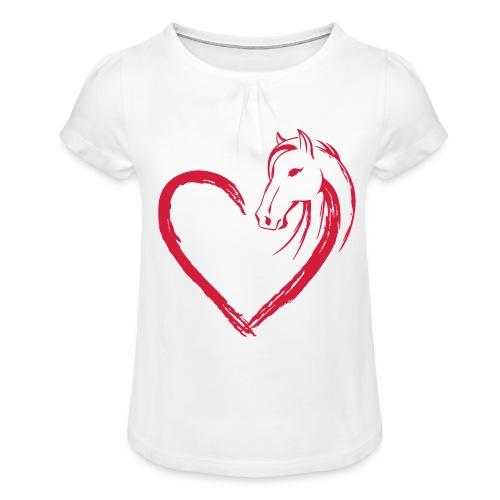 Vorschau: Pferde Herz - Mädchen-T-Shirt mit Raffungen